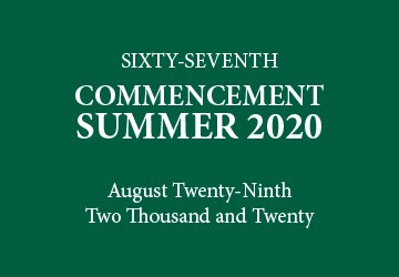 August 2020 Graduation
