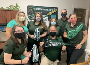 The University of Mount Olive Office of Traditional Admissions is prepared to welcome the class of 2024 to campus. Front row: Nicole Balsamello, James Sullivan, and Anna Whitman. Back: Jessie Murphy, Rachel Moore, and Melissa Avery, Tim Woodard. Not pictured: Lindsea Jones and Treyvon Webb.